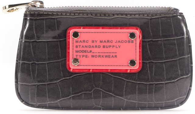 MARC BY MARC JACOBS Gray Embossed Leather Key Chain Card Case