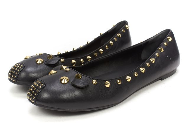 MARC BY MARC JACOBS Black Leather Gold Studded Mouse Flats