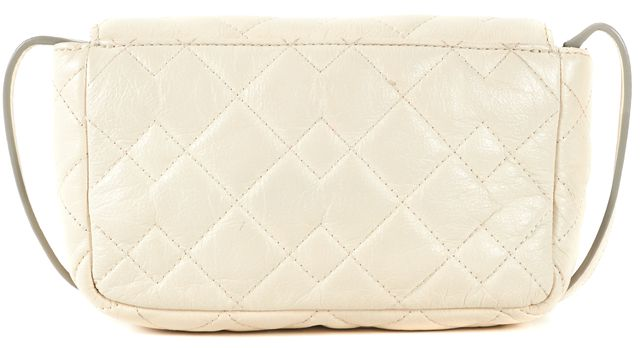 MARC BY MARC JACOBS Ivory Geometric Quilting Leather Crossbody Shoulder Bag