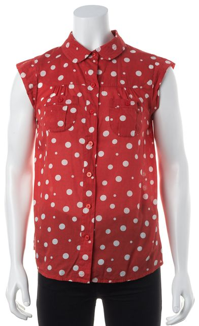 MARC BY MARC JACOBS Red White Polka Dot Peter Pan Button Down Shirt Top