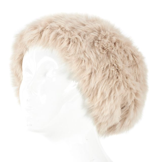 MARC BY MARC JACOBS Light Tan Rabbit Fur Pom Pom Beanie Hat