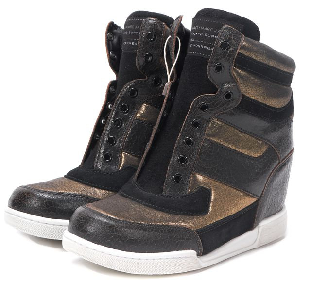 MARC BY MARC JACOBS Brown Gold Leather Concealed Wedge High Top Sneakers
