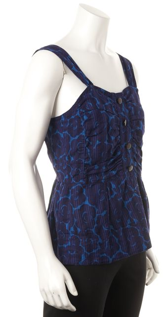 MARC BY MARC JACOBS Blue Purple Floral Sleeveless Summer Blouse Top