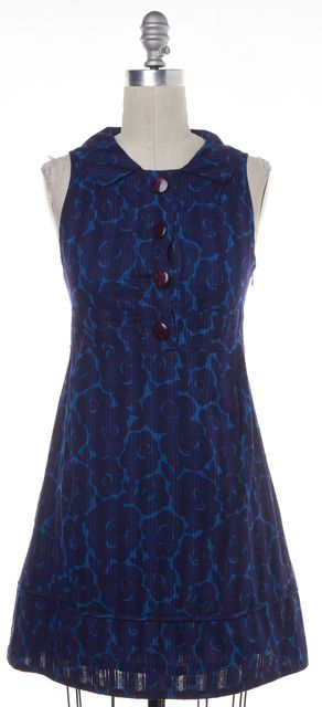 MARC BY MARC JACOBS Blue Abstract Floral Print Casual Fit & Flare Dress