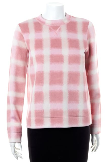 MARC BY MARC JACOBS Piggy Pink White Plaid Long Sleeve Sweatshirt Top
