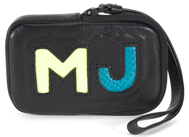 MARC BY MARC JACOBS Black Green Blue Leather Wristlet Pouch