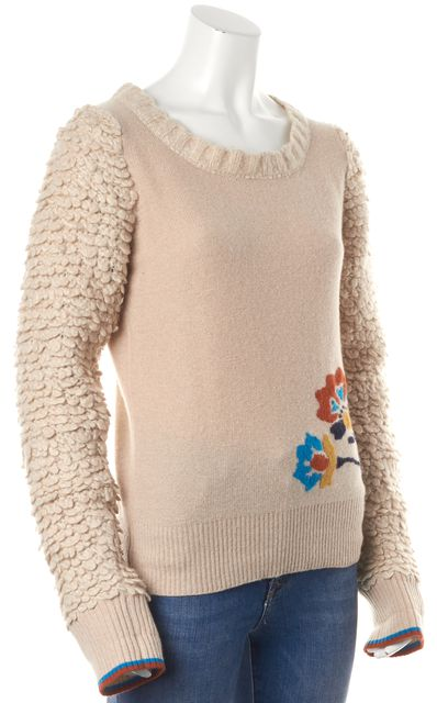 MARC BY MARC JACOBS Beige Floral Intarsia Wool Chunky Knit Sleeves Sweater