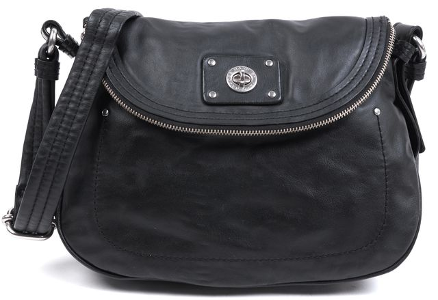 MARC BY MARC JACOBS Black Leather Flap Over Adjustable Strap Crossbody Bag