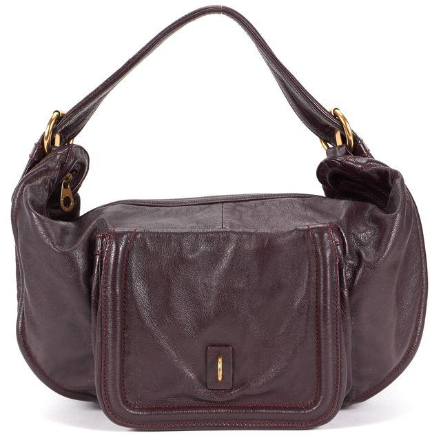 MARC BY MARC JACOBS Burgundy Leather Contrast Stitch Hobo Shoulder Bag