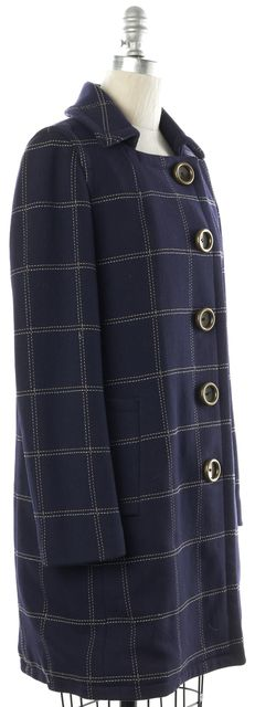 MARC BY MARC JACOBS Navy Blue Plaids & Checks Large Button Basic Wool Coat