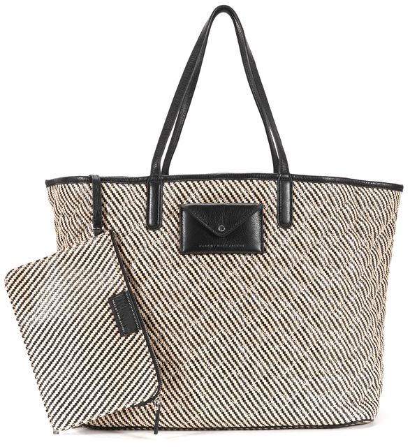 MARC BY MARC JACOBS Black Beige Quilted Metropolitote Straw Beach Tote Bag