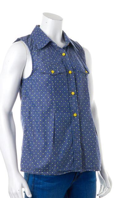MARC BY MARC JACOBS Blue Yellow Denim Polka Dot Button Down Shirt Blouse