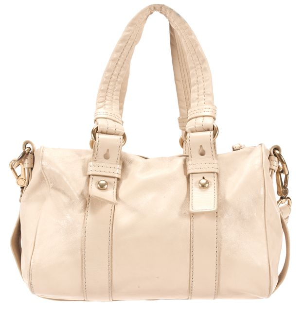 MARC BY MARC JACOBS Ivory Leather Removable Strap Shifty Barrel Satchel Bag