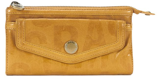 MARC BY MARC JACOBS Yellow Monogram Leather Zip Top Flap Pocket Wallet