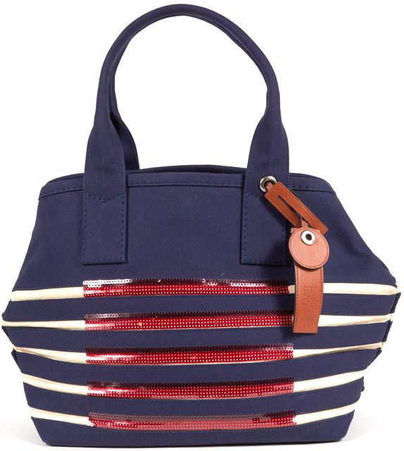 MARC BY MARC JACOBS Blue White Striped Red Sequin Large Top Handle Beach Tote