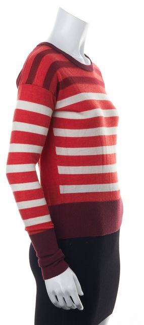 MARC BY MARC JACOBS Orange Red Ivory Striped Merino Wool Crewneck Sweater