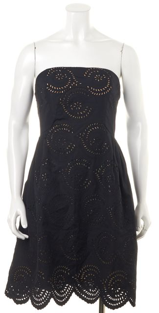 MARC BY MARC JACOBS Black Fit & Flare Cut-Out Strapless Dress