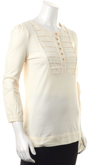 MARC BY MARC JACOBS Ivory Cotton Half Button 3/4 Sleeve Blouse Top