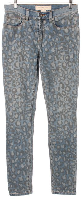 MARC BY MARC JACOBS Blue Painted Leopard Mid-Rise Skinny Jeans