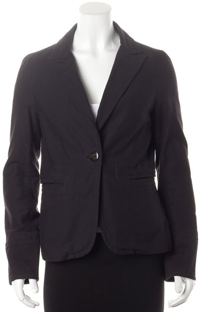 MARC BY MARC JACOBS Navy Blue Cotton Canvas One Button Blazer Jacket