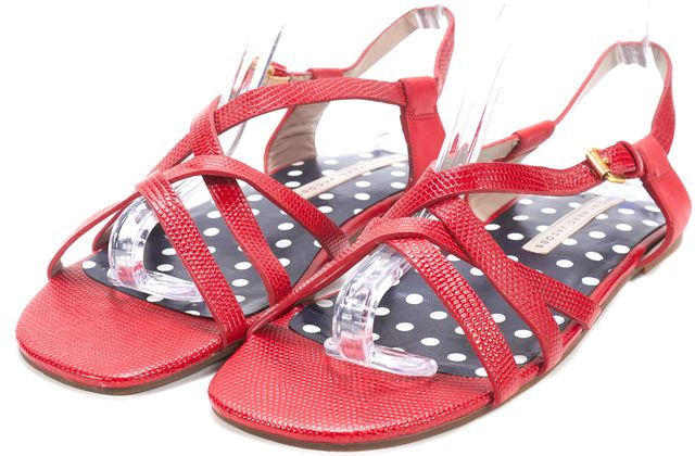 MARC BY MARC JACOBS Red Embossed Leather Strappy Flat Sandals