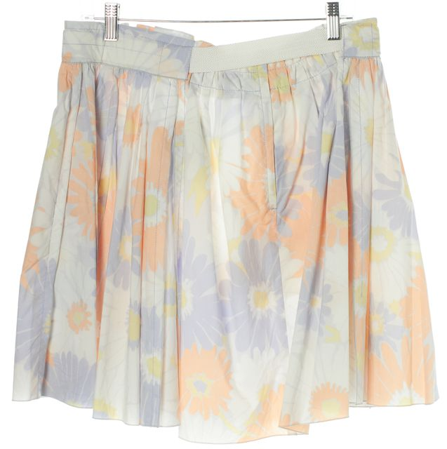 MARC BY MARC JACOBS Blue Orange Floral Pleated Belted Full Skirt