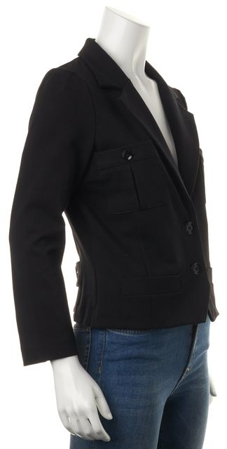MARC BY MARC JACOBS Black Two Button Casual Cropped Sleeve Blazer Jacket
