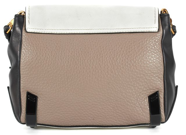 MARC BY MARC JACOBS White Black Leather Color Block Sheltere Island Crossbody