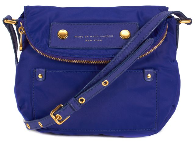 MARC BY MARC JACOBS Blue Nylon Gold Tone Hardware Flap Crossbody Small Bag