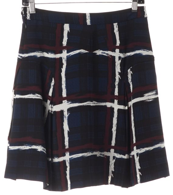 MARC BY MARC JACOBS Navy Blue Maroon White Plaid A-Line Skirt