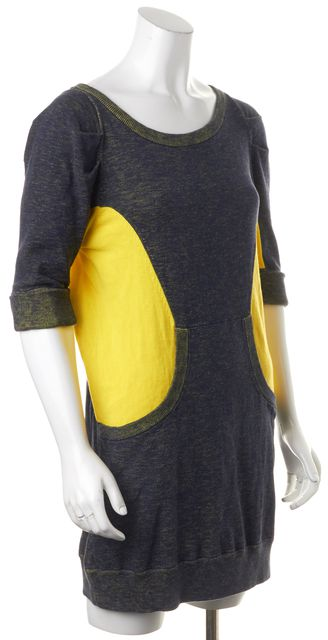 MARC BY MARC JACOBS Gray Yellow Colorblock 100% Cotton Sweater Dress