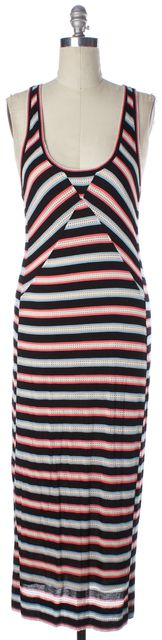 MARC BY MARC JACOBS Black Multi Striped Perforated Trim Maxi Tank Dress