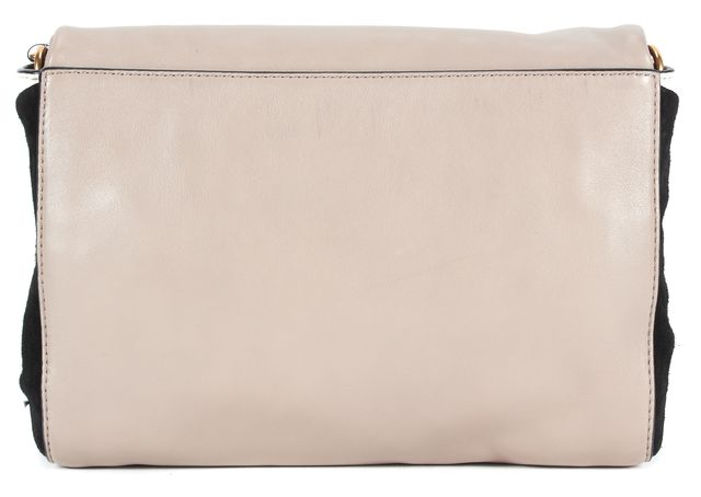 MARC BY MARC JACOBS Taupe Black White Suede Leather Colorblock Shoulder Bag