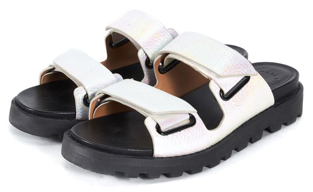 MARC BY MARC JACOBS Pink Holographic Leather Chunky Slip-On Sandals