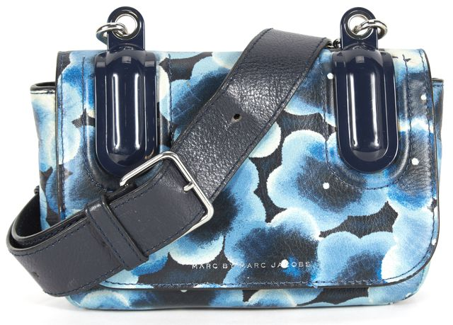MARC BY MARC JACOBS Blue Floral Print Leather Adjustable Strap Crossbody