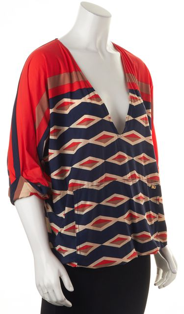 MARC BY MARC JACOBS Red Geometric Swimwear Top