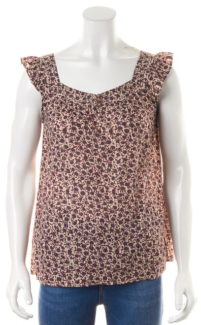MARC BY MARC JACOBS Purple Beige Floral Cotton Sleeveless Blouse Top