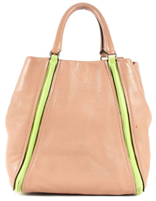 MARC BY MARC JACOBS Dusty Pink Lime Green Pebbled Leather Satchel
