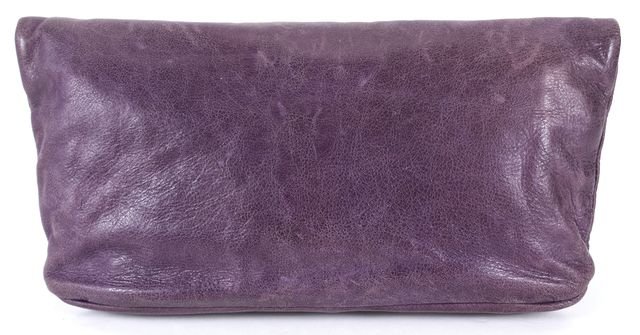 MARC BY MARC JACOBS Purple Pebbled Leather Fold-Over Clutch