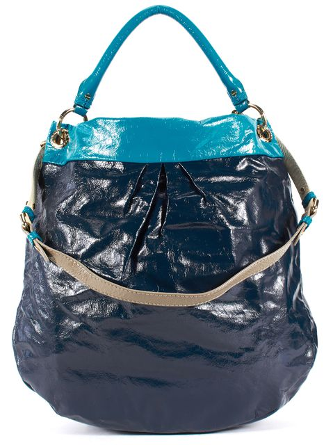 MARC BY MARC JACOBS Blue Two-Tone Patent Leather Satchel Hobo Bag