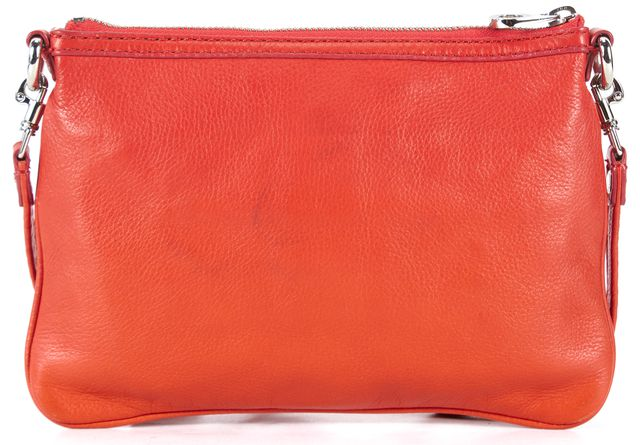 MARC BY MARC JACOBS Orange Leather Zip Top Crossbody Bag