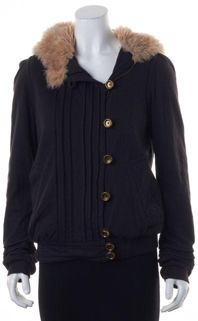 MARC BY MARC JACOBS Black Full Zip Basic Faux Fur Trim Hooded Jacket Coat