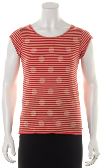 MARC BY MARC JACOBS Red Striped Polka Dot Graphic T-Shirt