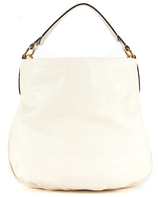 MARC BY MARC JACOBS Ivory Pebbled Leather Satchel Shoulder Bag