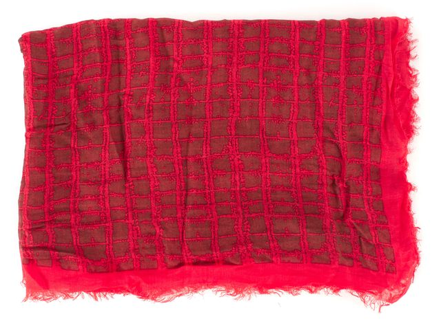 MARC BY MARC JACOBS Red Brown Checkered Modal Semi Sheer Scarf