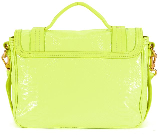 MARC BY MARC JACOBS Neon Yellow Snake Embossed Patent Leather Satchel