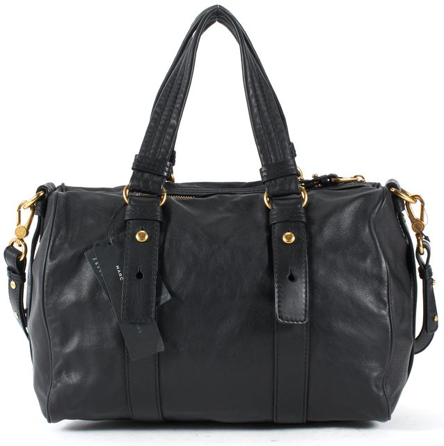 MARC BY MARC JACOBS Black Leather Gold-Tone Hardware Bowling Satchel Bag