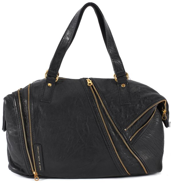 MARC BY MARC JACOBS Black Leather Gold Zipper Trim Satchel