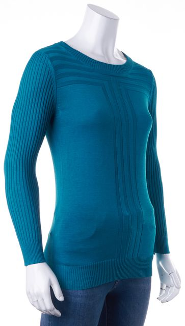 MARC BY MARC JACOBS Teal Blue Boat Neck Thin Knit Sweater