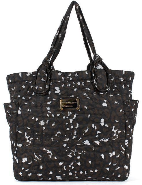 MARC BY MARC JACOBS Brown Black White Printed Quilted Nylon Tote